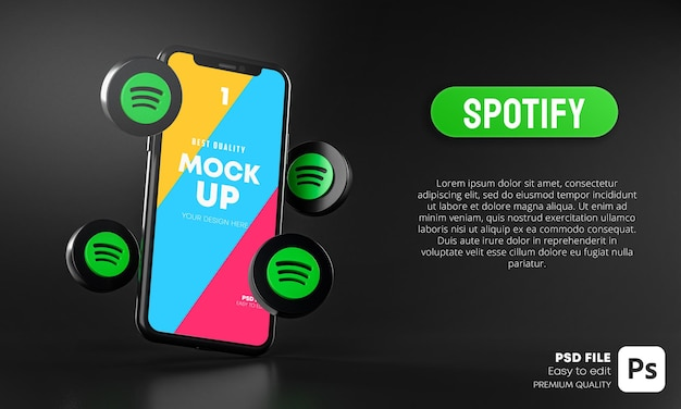 Spotify icons around smartphone app mockup 3d