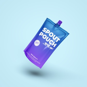 Spout pouch drink sachet realistic mockup isolated