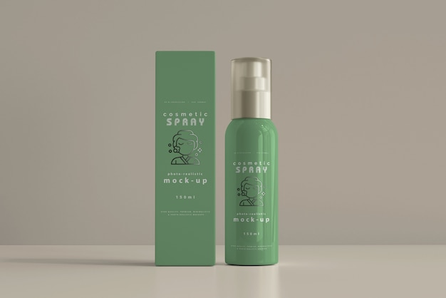 Spray bottle with box mockup