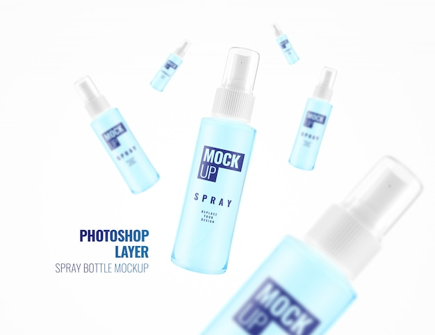 Spray cosmetic bottle spray advertising mockup realistic