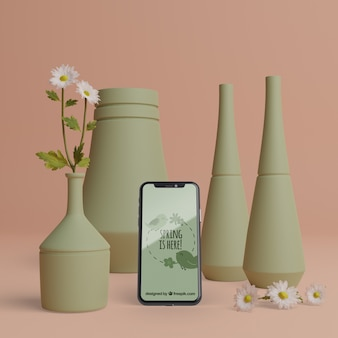 Spring 3d decorations with mobile and mock-up