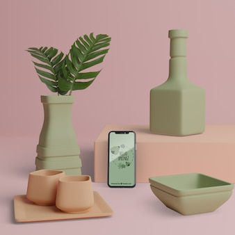 Spring 3d decorations with phone mock-up