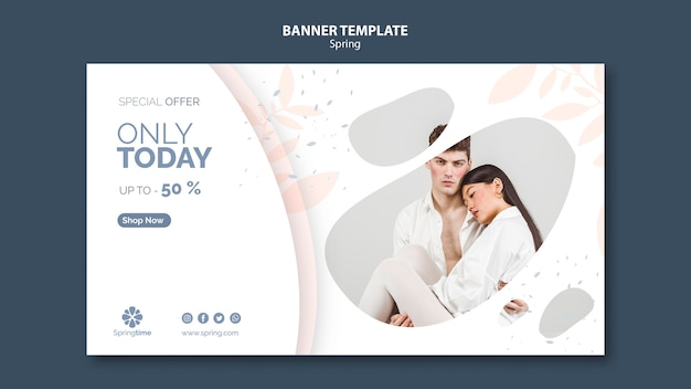 Spring banner template with photo