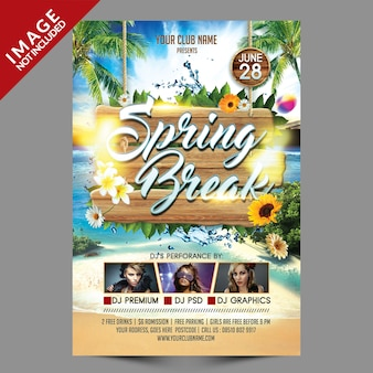 Spring break beach party flyer template