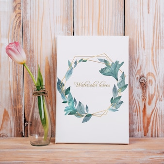 Spring canvas mockup with decorative beautiful tulip