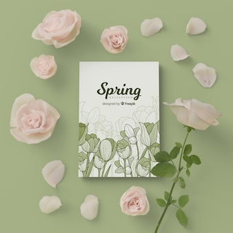 Spring card with 3d blossom floral frame