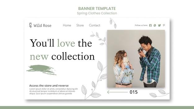 Шаблон баннера коллекции весенней одежды