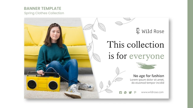 Spring clothes collection banner template