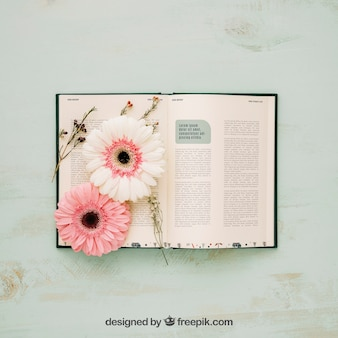 Spring concept mockup with flowers in open book