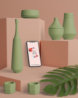 Spring decorations in 3d with mock-up