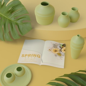 Spring decorations with card on table