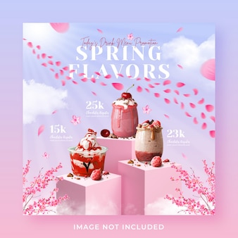 Spring drink menu promotion social media instagram post banner template