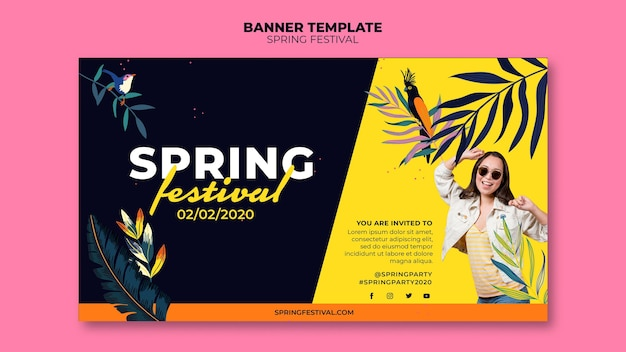 Spring festival banner template with photo