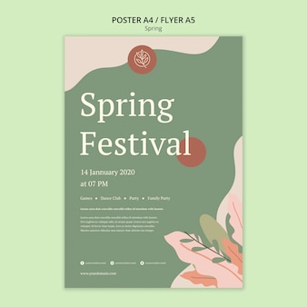 Spring festival poster with minimalist design and leaves