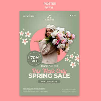 Spring flyer template with photo