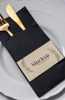 Spring menu with golden cutlery