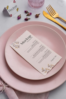 Spring menu with plates and cutlery