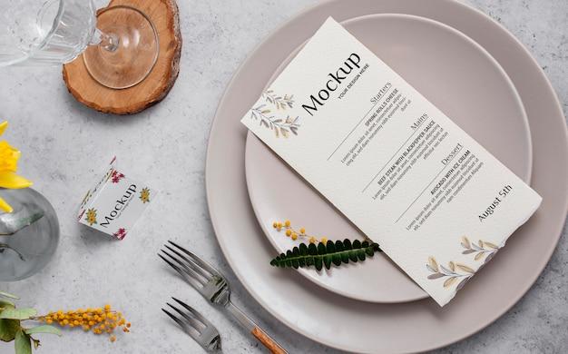 Spring menu with plates