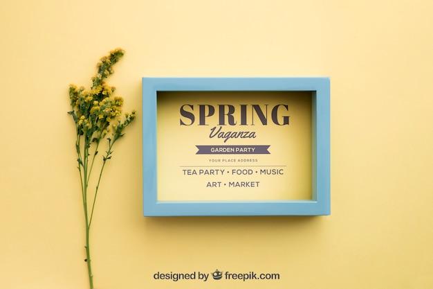Весна макет с рамкой рядом с полевыми цветами