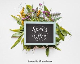 Spring mockup with blue frame