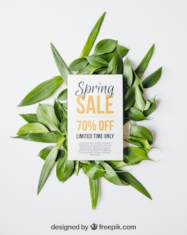 Spring mockup with card and leaves