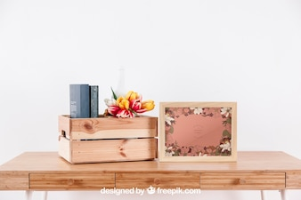 Spring mockup with frame an box