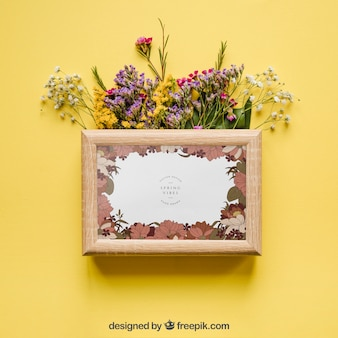 Spring mockup with frame and flowers
