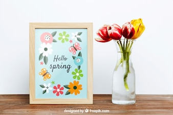 Spring mockup with frame and vase of flowers