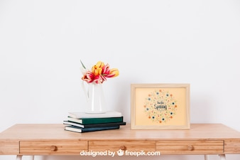 Spring mockup with frame next to flower pot