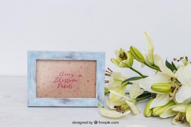 꽃 옆 프레임 봄 이랑