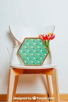 Весенний макет с шестиугольной рамкой над стулом