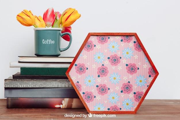 Весенний макет с шестиугольной рамой