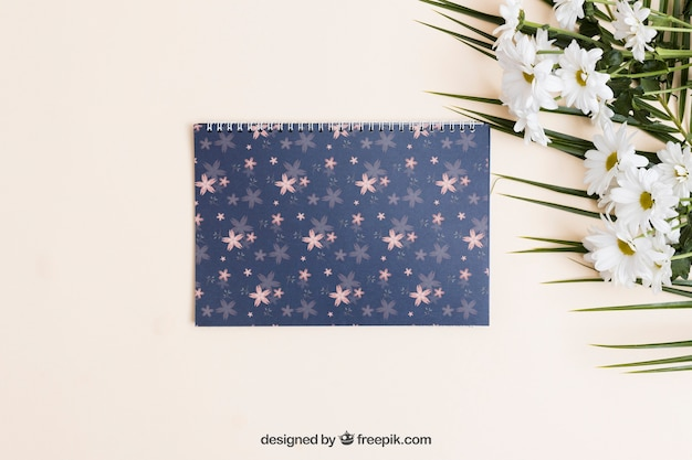 Spring mockup with notebook