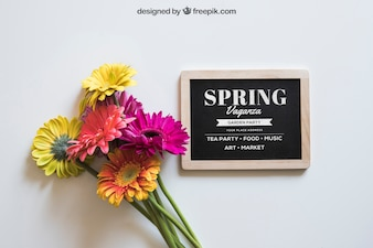 Spring mockup with slate and colorful flowers