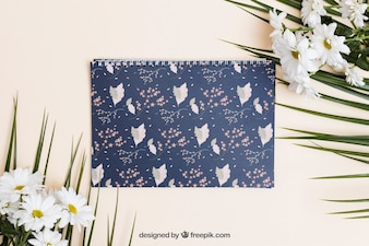 Spring mockup with spiral notebook