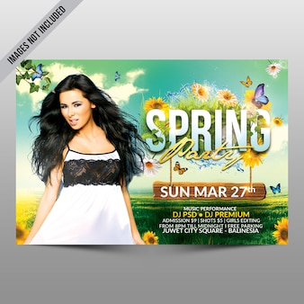 Spring party flyer horizontal