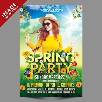 Spring party flyer psd template