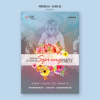 Spring party flyer template with photo