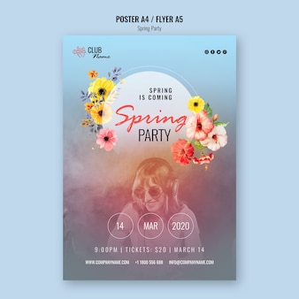 Spring party poster template with photo