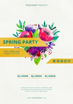Spring party poster template with watercolor flowers