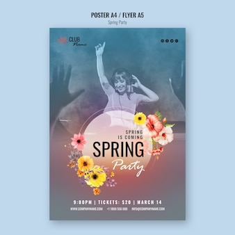 Spring party poster with photo