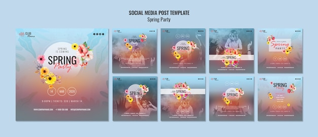 Spring party social media posts template