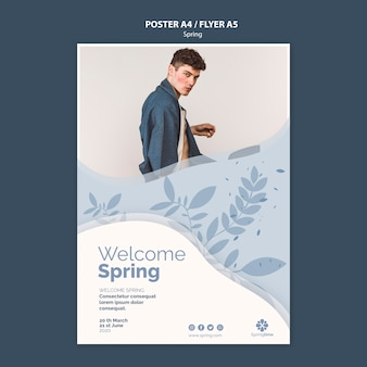 写真付き春ポスターテンプレート