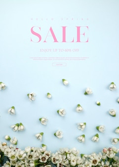 Spring sale banner template with beautiful flowers