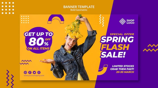 Spring sale bold geometric model banner template
