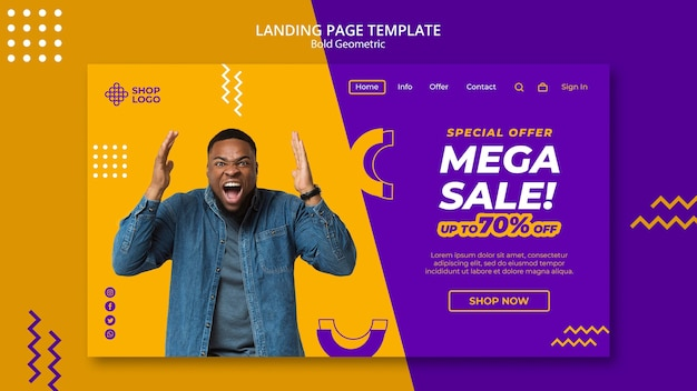 Spring sale bold geometric model landing page template