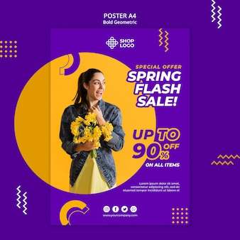 Spring sale bold geometric model poster template