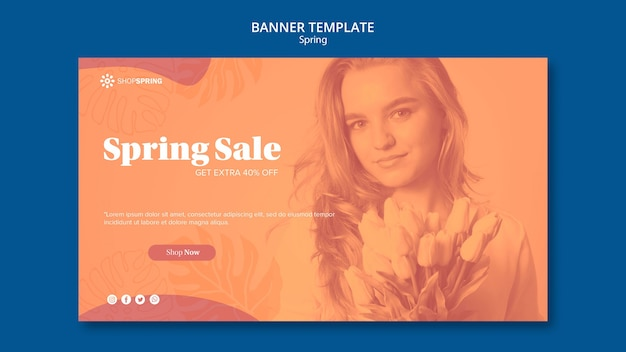 Spring sale discount banner template