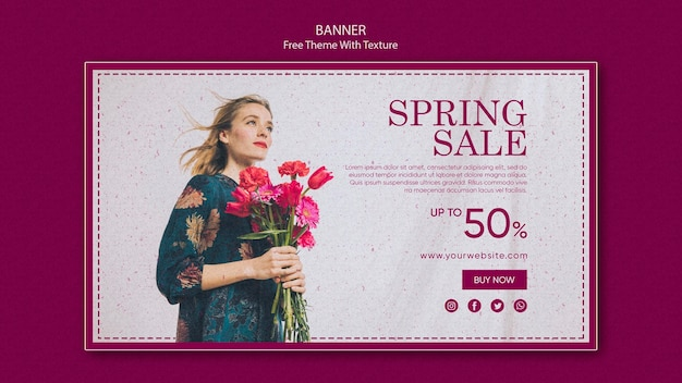 Spring sale horizontal banner design