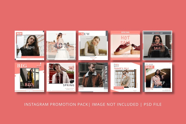 Spring sale instagram post graphic template
